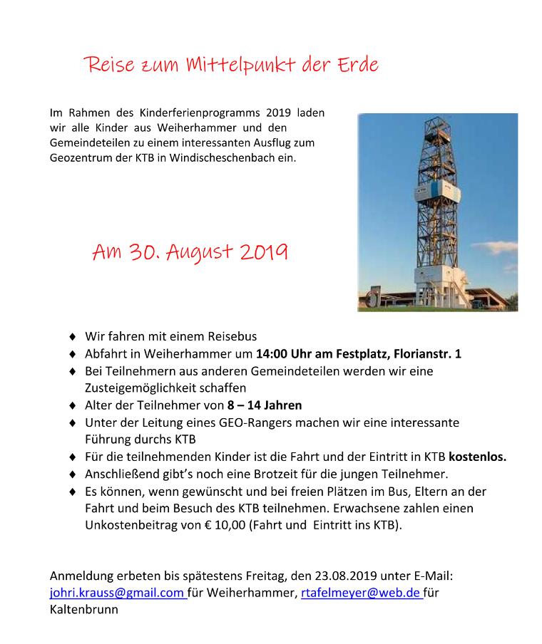 Ferienprogramm der SPD Ortsvereine Weiherhammer und Kaltenbrunn